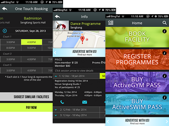 ActiveSG mobile application screenshot